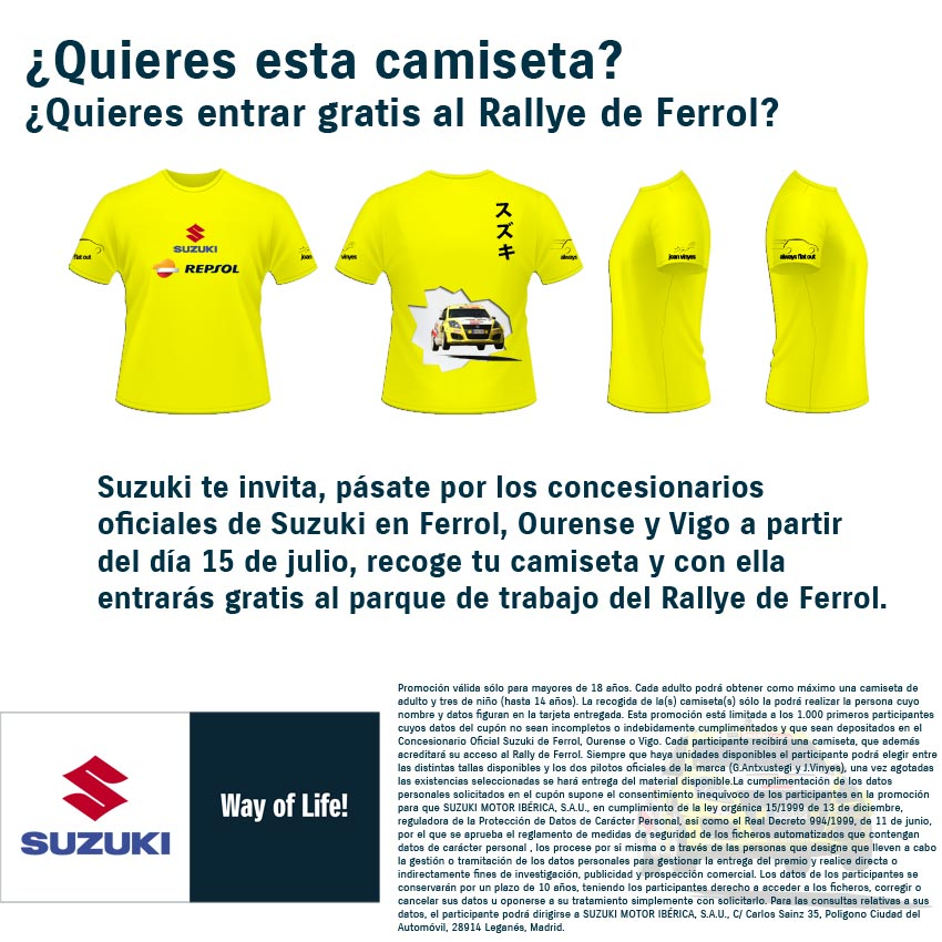 La promoción de las camisetas del equipo Suzuki-Repsol es una colaboración con el Rallye de Ferrol